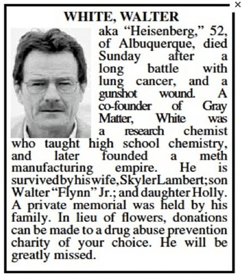 Albuquerque Journal obituary for Breaking Bad's Walter White