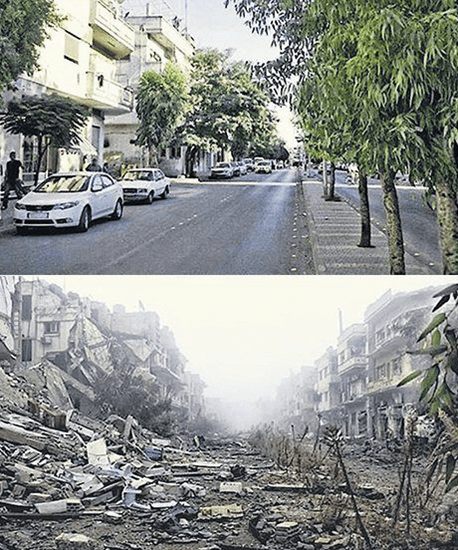 Before and after shot of street in Syria