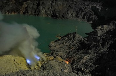 The Kawah Ijen volcano, Indonesia, and its beautiful brilliant, glowing lava flows
