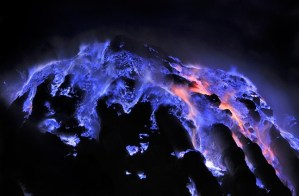 The Kawah Ijen volcano, Indonesia, and its beautiful sulfur-induced blue lava flows