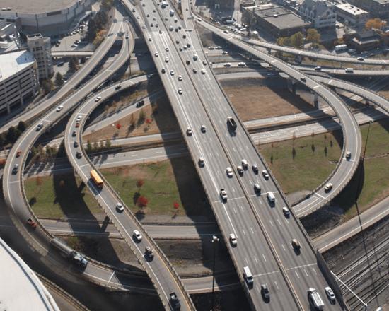 Highway interchange with complex traffic patterns