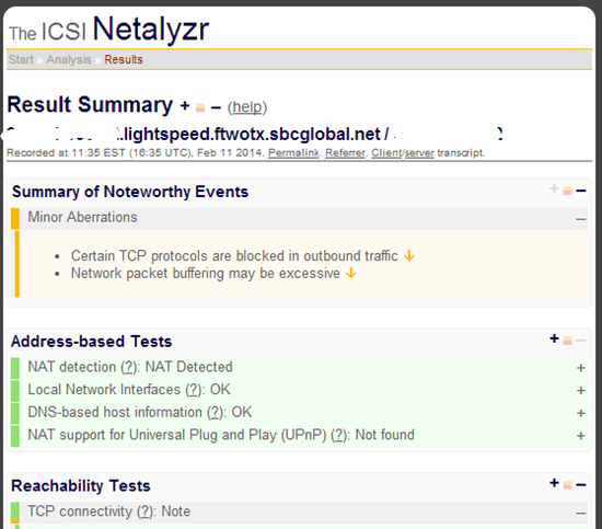 Sample output from the ICSI Netalyzr tool