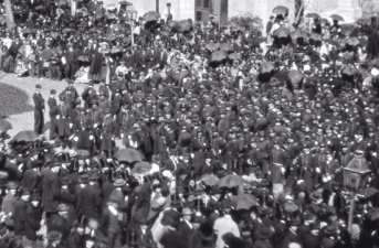 Civil War soldiers milling in the street