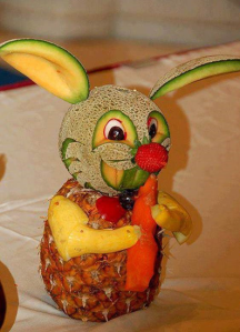 Bunny rabbit made from melons