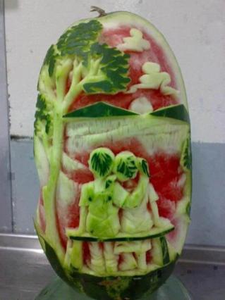 Beautiful watermelon carving