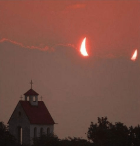 Cute well-timed photo - dog and mouse scare each other - moon behind clouds looks like devil horns