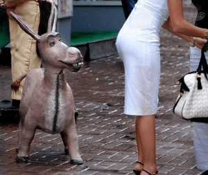 Statue of donkey appears to be looking at woman's butt