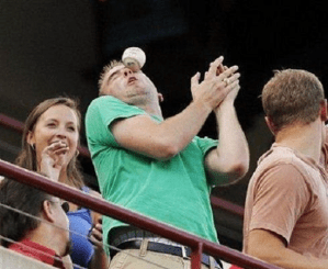 Perfect-timing - man hit in face with baseball
