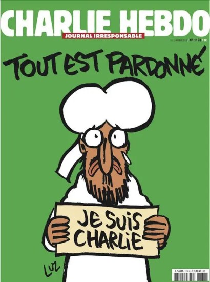"January 2015 Charlie Hebdo cover featuring Prophet Muhammad with sign that says ""I am Charlie"""