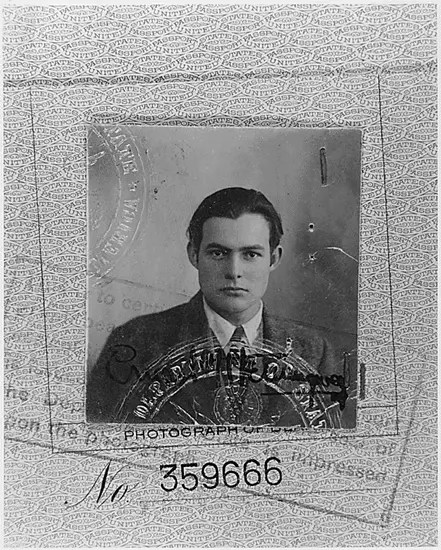 Ernest Hemingway captured in a passport photo.