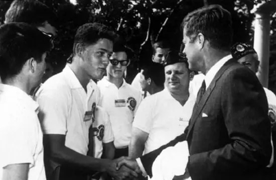 A young Bill Clinton meets President John F. Kennedy in 1963.