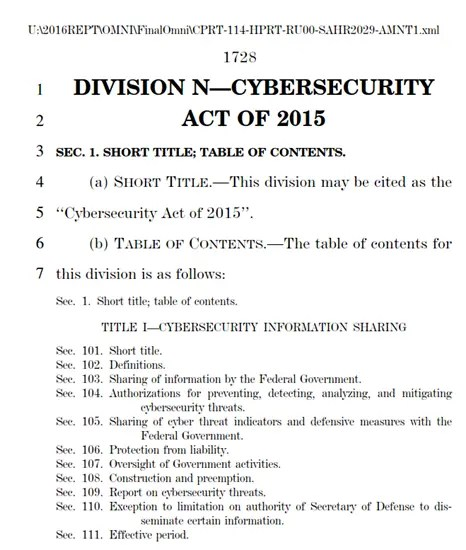 Cybersecurity Act of 2015 embedded in the emergency budget bill