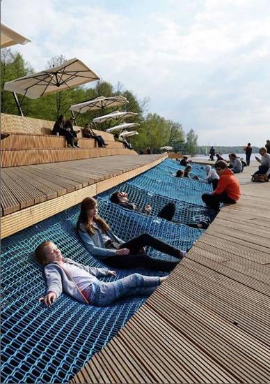 Paprocany Lake Shore seats in Tychy, Poland.