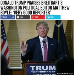"Real Breitbart headling: Donald Trump praises Breitbart's Washington political editor Matt Boyle: ""Very good reporter"""