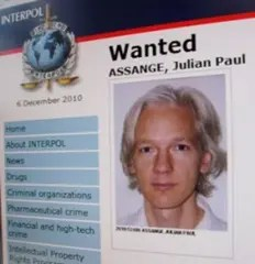 Julian Assange Interpol most-wanted poster