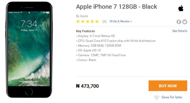 Price of iPhone 7 on Jumia