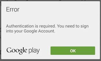 Fix Google Play Authentication Error