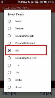 New Stark VPN Settings for Glo 0.0k Free Browsing Cheat