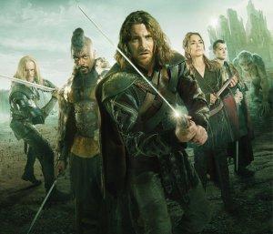 BEOWULF -- Season: 1 -- Pictured: (l-r) Elliot Cowan as Abrecan, David Ajala as Rate, Kieran Bew as Beowulf, Joanne Whalley as Rheda, Ed Speleers as Slean -- (Photo by: ITV Studios)
