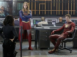 """""""Worlds Finest"""" -- Kara gains a new ally when the lightning-fast superhero The Flash suddenly appears from an alternate universe and helps Kara battle Siobhan, aka Silver Banshee, and Livewire in exchange for her help in finding a way to return him home, on SUPERGIRL, Monday, March 28 (8:00-9:00 PM, ET/PT) on the CBS Television Network. Pictured left to right: Jenna Dewan-Tatum, Melissa Benoist and Grant Gustin Photo: Robert Voets/Warner Bros. Entertainment Inc. © 2016 WBEI. All rights reserved."""