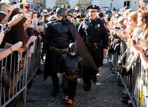 "Five-years-old Miles Scott, from Tulelake, Calif., is dressed in a Batman costume in San Francisco, Friday, November 15, 2013. Miles, who wants to be a Batman, will embark on a series of crime-solving adventures when San Francisco is converted into ""Gotham City"" as part of a Make-A-Wish Foundation event. He is in a fight on his own in his battle against leukemia since he was a year old. He is now in remission. (Photo: Make-A-Wish Foundation/PaulSakuma.com)"