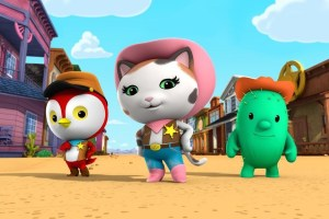 "SHERIFF CALLIE'S WILD WEST - The animated series ""Sheriff Callie's Wild West,"" the first western for preschoolers (age 2-7) stars Mandy Moore (Disney's ""Tangled"") as the voice of Callie, a kitty cat sheriff who, along with her deputy woodpecker Peck and fun-loving cactus sidekick Toby, watch over the frontier town of Nice and Friendly Corners, ensuring that it remains the friendliest town in the West. (DISNEY JUNIOR) PECK, CALLIE, TOBY"