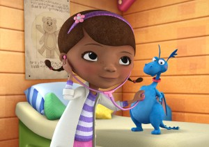 "In this image released by Disney Junior, the character Doc McStuffins is shown with Stuff in a scene from Disney Junior's animated series ""Doc McStuffins."" The show, about a six-year-old girl who runs and operates a clinic for broken toys and worn out stuffed animals out of the playhouse in her backyard, will debut Friday, March 23, on the new 24-hour Disney Junior channel. (AP Photo/Disney Junior)"
