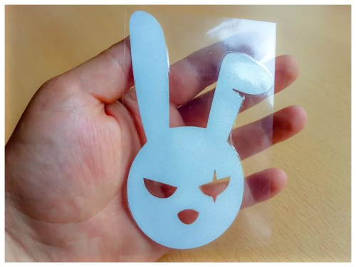 Cool Rabbit Cartoon decal waterproof reflective universal body sticker vinyl warning sticker motorcycle sticker car styling black / silver photo review