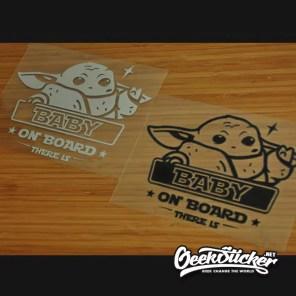 "Baby Yoda ""Baby on Board"" Car Decals sticker Vinyl waterproof reflective Die-cut Cartoon decal sticker to Apply to the Car, Truck, Van Window or Body black/silver white-6"