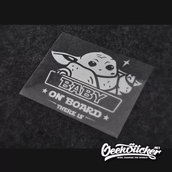 "Baby Yoda ""Baby on Board"" Car Decals sticker Vinyl waterproof reflective Die-cut Cartoon decal sticker to Apply to the Car, Truck, Van Window or Body black/silver white-8"