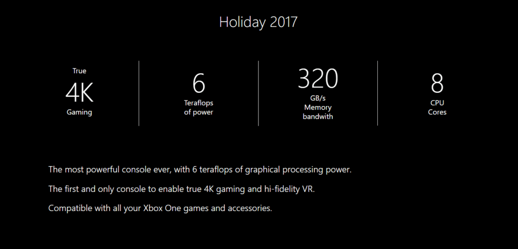 "Microsoft Changes Xbox Project Scorpio's Website, Removes Mention of ""Hi-Fidelity VR"""