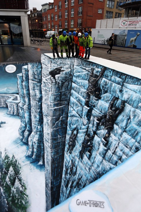 3D artwork of The Wall from Game of Thrones as unveiled today in London's Bishops Square to celebrate the Season Three Blu-ray and DVD release - 17 Feb 2014