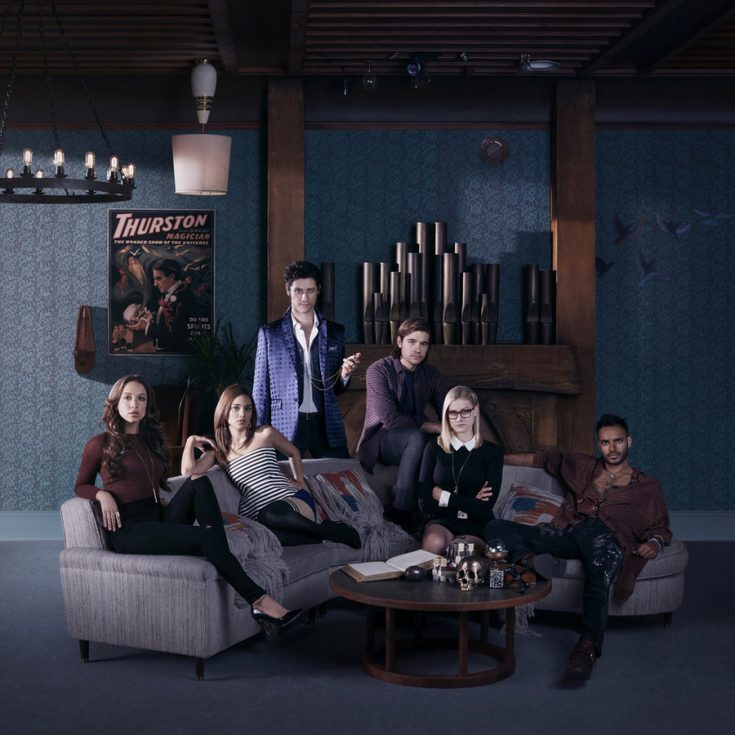 THE MAGICIANS -- Season:1 -- Pictured: (l-r) Stella Maeve as Julia, Summer Bishil as Margo, Hale Appleman as Eliot, Jason Ralph as Quentin, Olivia Taylor Dudley as Alice, Arjun Gupta as Penny -- (Photo by: Lorenzo Agius/Syfy)