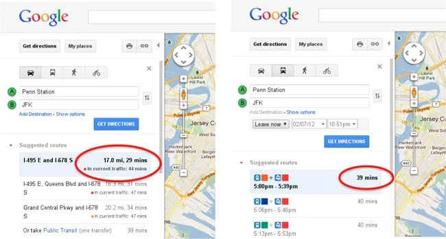 Google Maps Provides Real-Time Traffic Data