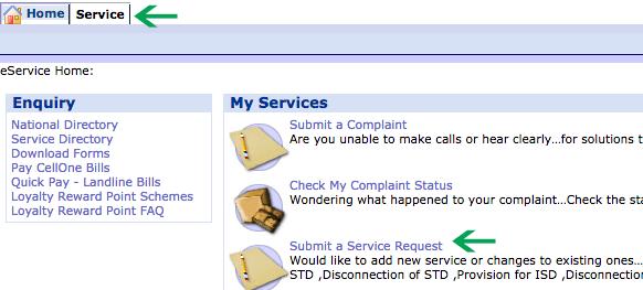 BSNL Request New Service