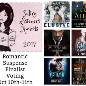 #SultryListeners Awards Romantic Suspense Finals Oct 10th-11th @mlsimmons #LoveAudiobooks