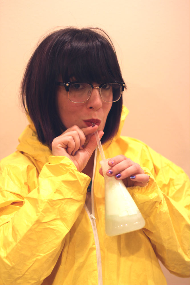 Thank you to the fabulous Jenn for modeling the drink. And for willingly wearing a Haz-Mat suit.