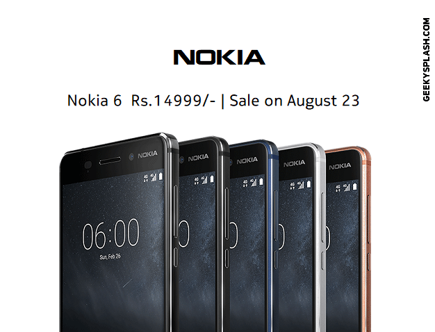 Nokia-6-Sale-in-India-Aug-23-GeekySplash