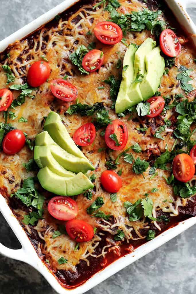 Low Carb Chicken Zucchini Enchilada Bake from AmbitiousKitchen.com
