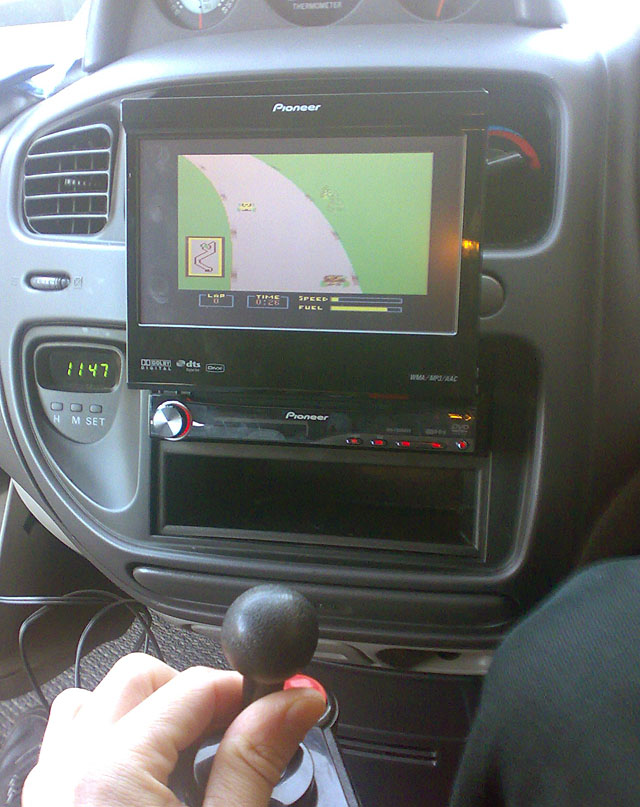 Don't play with your joystick in the car!