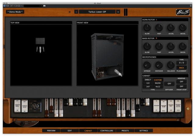 Purposeful interface of Blue3 - Leslie Amp, microphone and drawbars