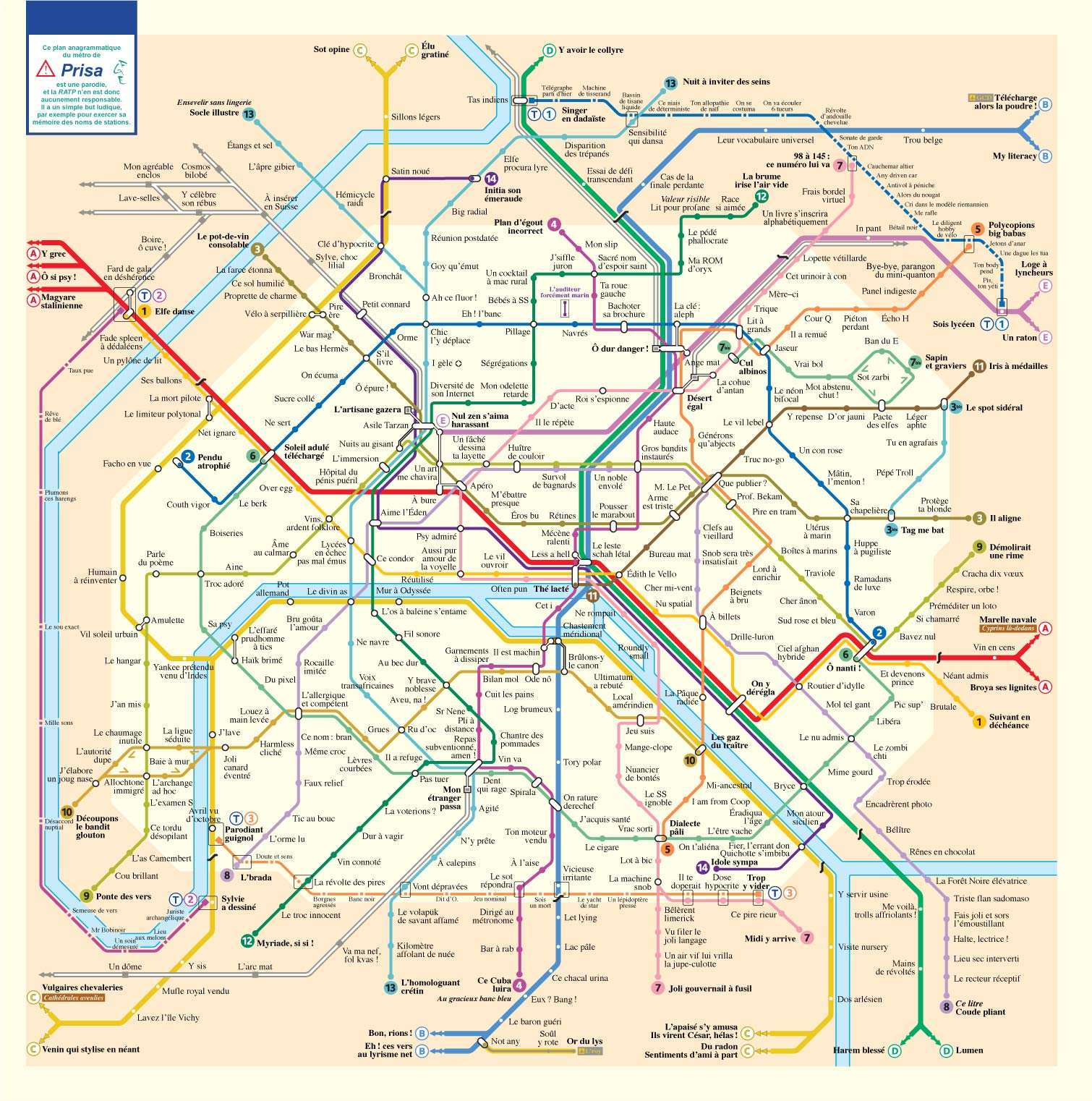 Métro parisien anagrammatisé