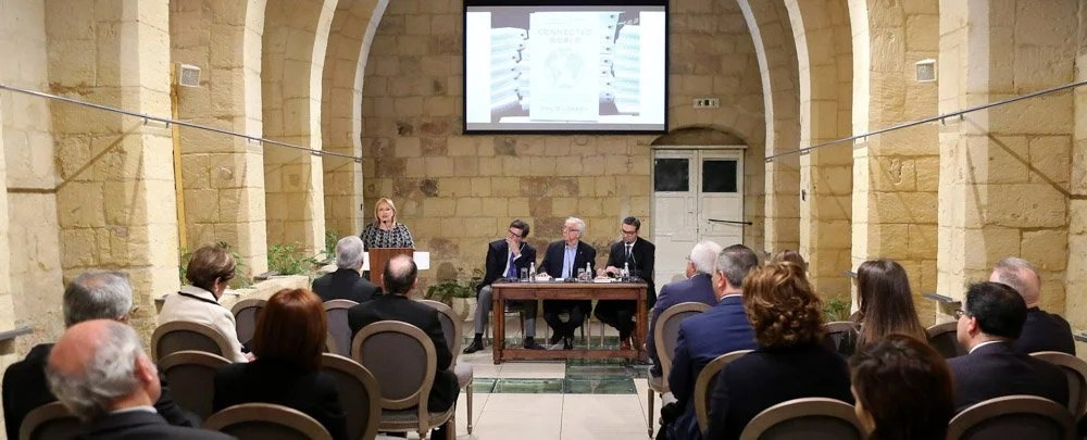 H.E. The President of Malta with Carlo d'Asaro Biondo (Google President EMEA), Fr. Joe Borg (Discussion Moderator) and Dr. Gege Gatt (CEO ebo.ai)