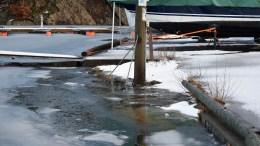 STORMFLO: Meteorologene varsler høy vannstand. Ved Ubekilen gikk isen nesten på land tirsdag ettermiddag. Foto: Esben Holm Eskelund