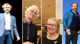 BRA MED LOKALAVIS: F.v. Erik Johan Tellefsen Lindøe (H), Rune Sævre (Sv), Milly O. Grundesen (Sp) og Kristoffer Lyngvi-Østerhus (H). Fotomontasje/Esben Holm Eskelund