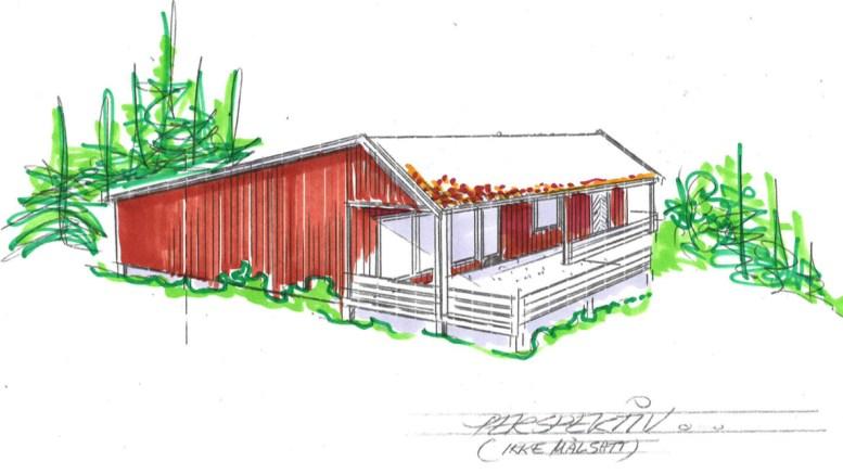 HYTTEBYGGING: Styret i Raet Nasjonalpark gir klarsignal til riving og gjenoppføring av hytte på Spornes. Illustrasjon: fra vedtaksbrevet