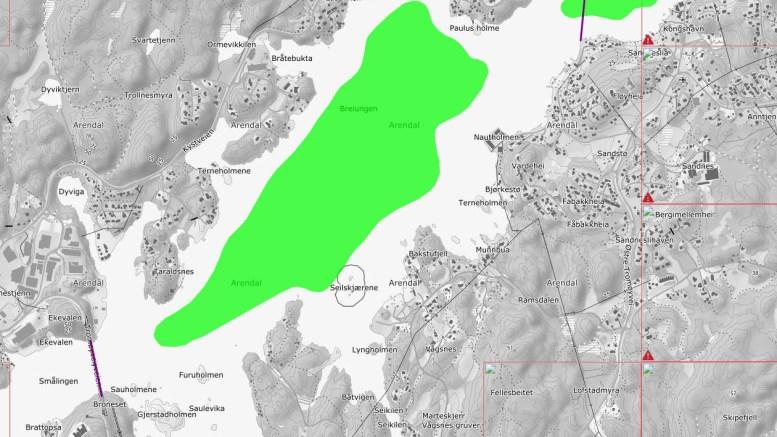 SALTRØDBUKTA: I dette området i Tromøysund foreslår Fiskeridirektoratet forbud mot fiske av torsk i vinter- og vårhalvåret. Kart: Fiskeridir.no
