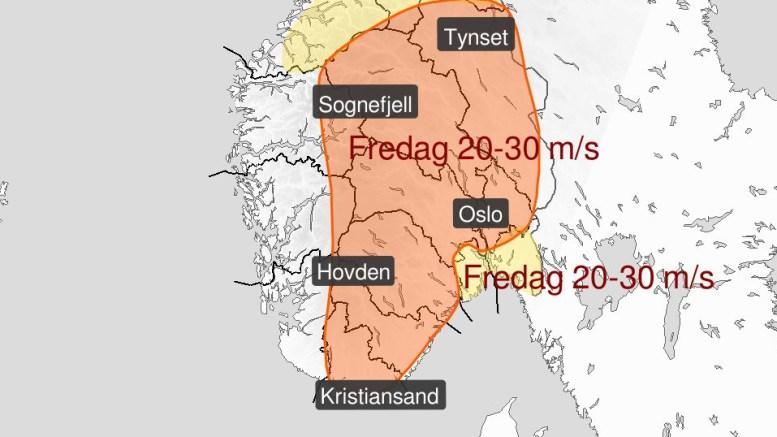 KRAFTIGE VINDKAST: Fredag varsles det periodevis liten storm, og fare for langt kraftigere vindkast i vårt område. Illustrasjon: Meterologene/Twitter