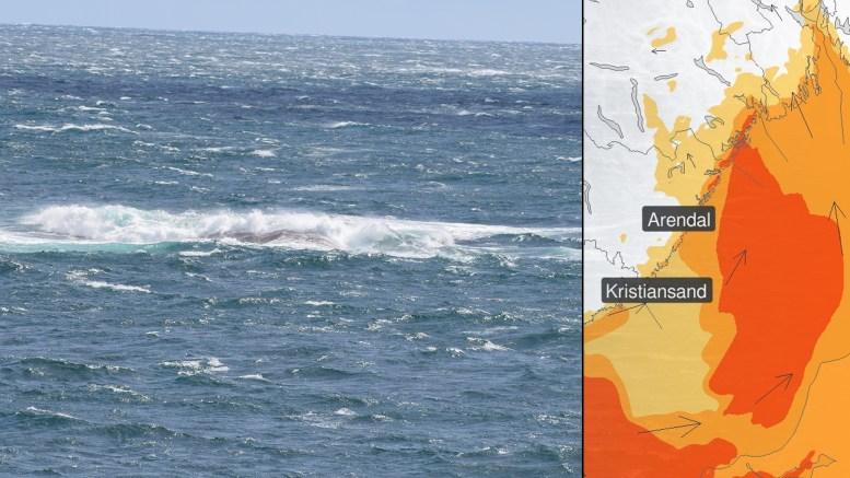 SPORNESSKJÆRA: 10. august i år blåste det litt på Spornes. Fredag ettermiddag og kveld kan det bli betydelig heftigere vær. Foto/Montasje: Esben Holm Eskelund