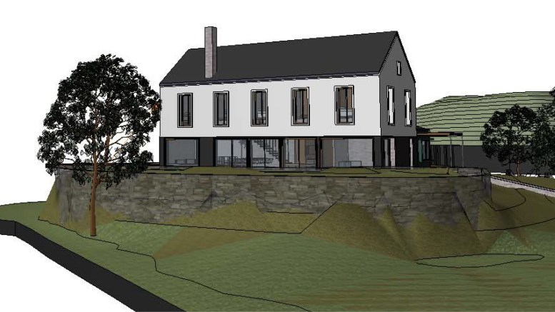 NYTT HOVEDHUS: Tiltakshaveren ønsker å rive det eksisterende murhuset på Jomfruholmen og bygge nytt. Skissen viser bygningen fra nordvest. Illustrasjon: Trafo Arkitektur